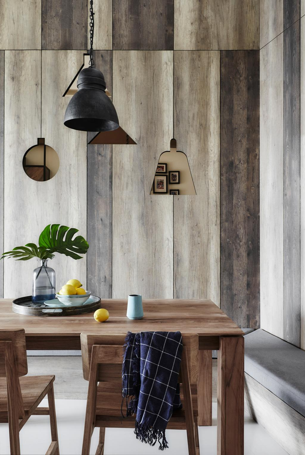 Industrial, Condo, Dining Room, D'Leedon, Interior Designer, Dan's Workshop, Quirky Wall Decor, Hanging Lights, Pendant Lights, Pendant Lamps, Wall Laminate, L Shaped Settee, Potted Plant