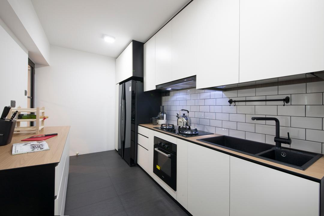 Punggol Central (Block 651), Colourbox Interior, Scandinavian, Kitchen, HDB, Monochrome, Subway Tiles, Black Faucet, Kompacplus, Kompac Plus, Thin Countertop, Knobless, Simple Kitchen Design, Blacka Nd White, White And Black, Indoors, Interior Design, Room, Door, Sliding Door