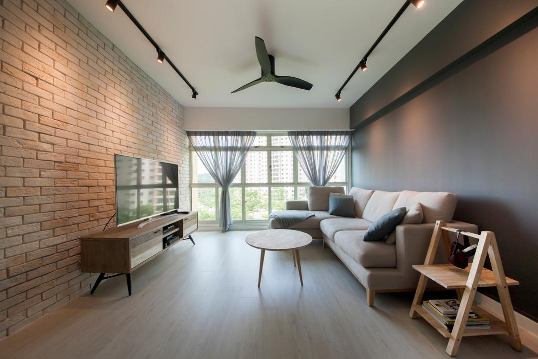 Punggol Central (Block 651), Colourbox Interior, Scandinavian, Living Room, HDB, Brick Wall, Grey Wall, Gray Wall, Dark Colours, Wood Flooring, Warm Industrial, Scandi Dustrial, Scandustrial, Magazine Rack, Bright And Airy, Rectillinear Layout, Chair, Furniture, Bench, Couch