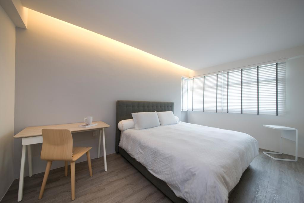 Minimalistic, HDB, Bedroom, Fernvale Link, Interior Designer, DB Studio, Study Table, Concealed Lighting, Cove Light, Venetian Blinds, Indoors, Interior Design, Room, Sink, Dining Table, Furniture, Table, Chair