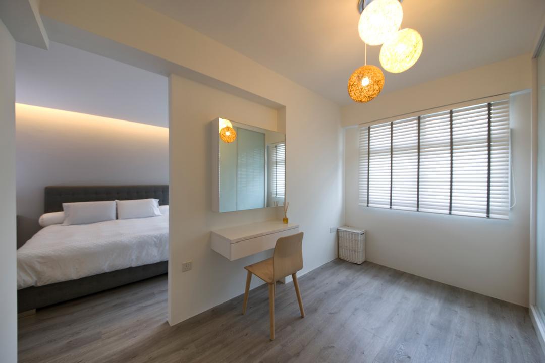 Fernvale Link, DB Studio, Minimalistic, Bedroom, HDB, Lantern Lights, Venetian Blinds, Vanity, White Interior, Indoors, Interior Design, Room, Molding