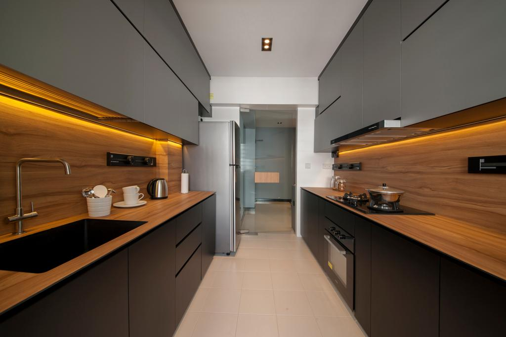 Contemporary, HDB, Kitchen, Punggol Drive (Block 663A), Interior Designer, Posh Home, Building, Housing, Indoors, Loft, Interior Design