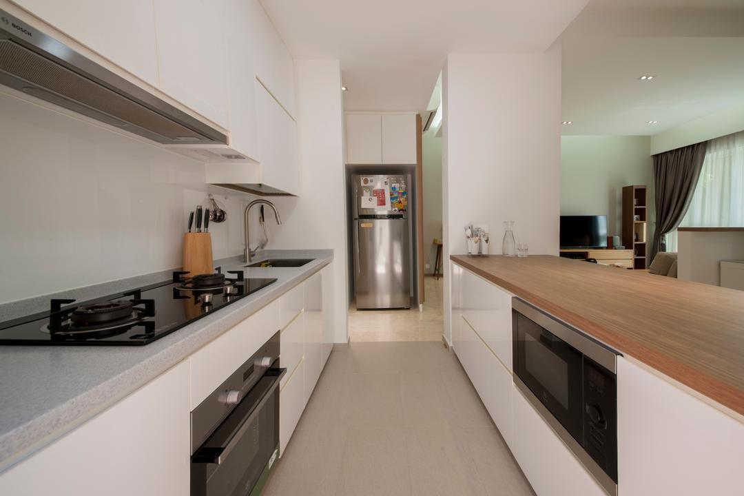 Country Park, Space Define Interior, Modern, Contemporary, Kitchen, Condo, Kitchen Countertop, Galley Kitchen, Knobless, Oven, Kitchen Oven, Indoors, Interior Design, Room, Appliance, Electrical Device