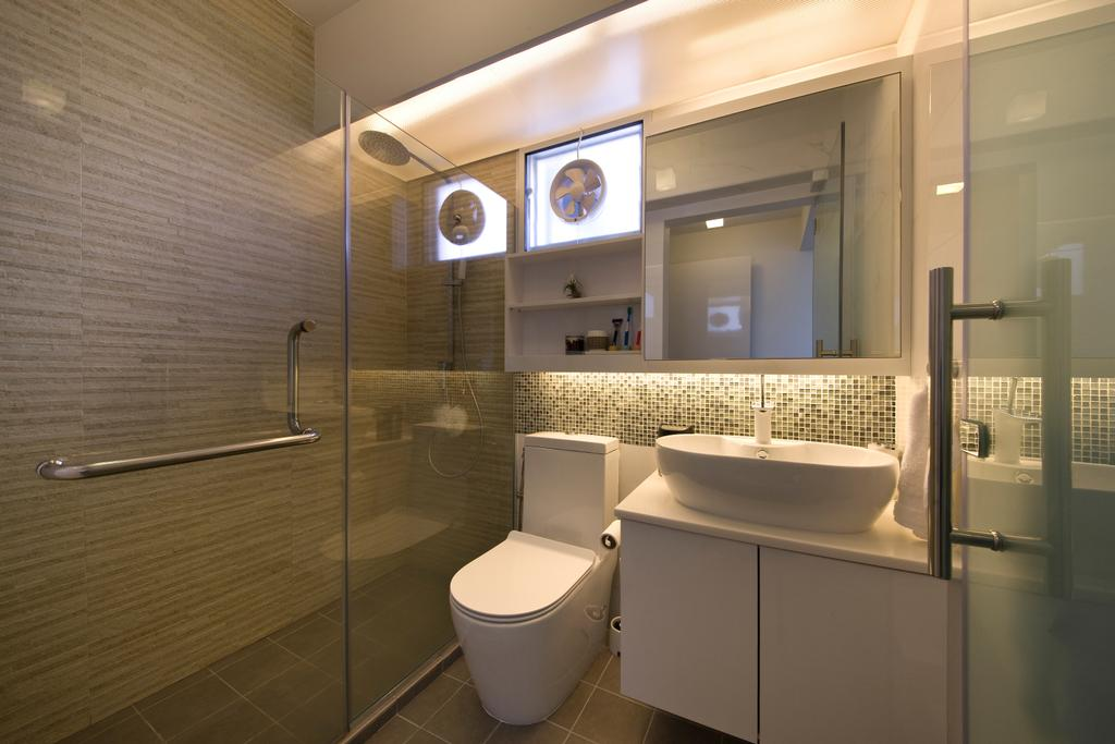 Minimalistic, HDB, Bathroom, Fernvale Link, Interior Designer, DB Studio, Mosaic Tiles, Raised Sink, Concealed Lighting, Indoors, Interior Design, Room, Toilet