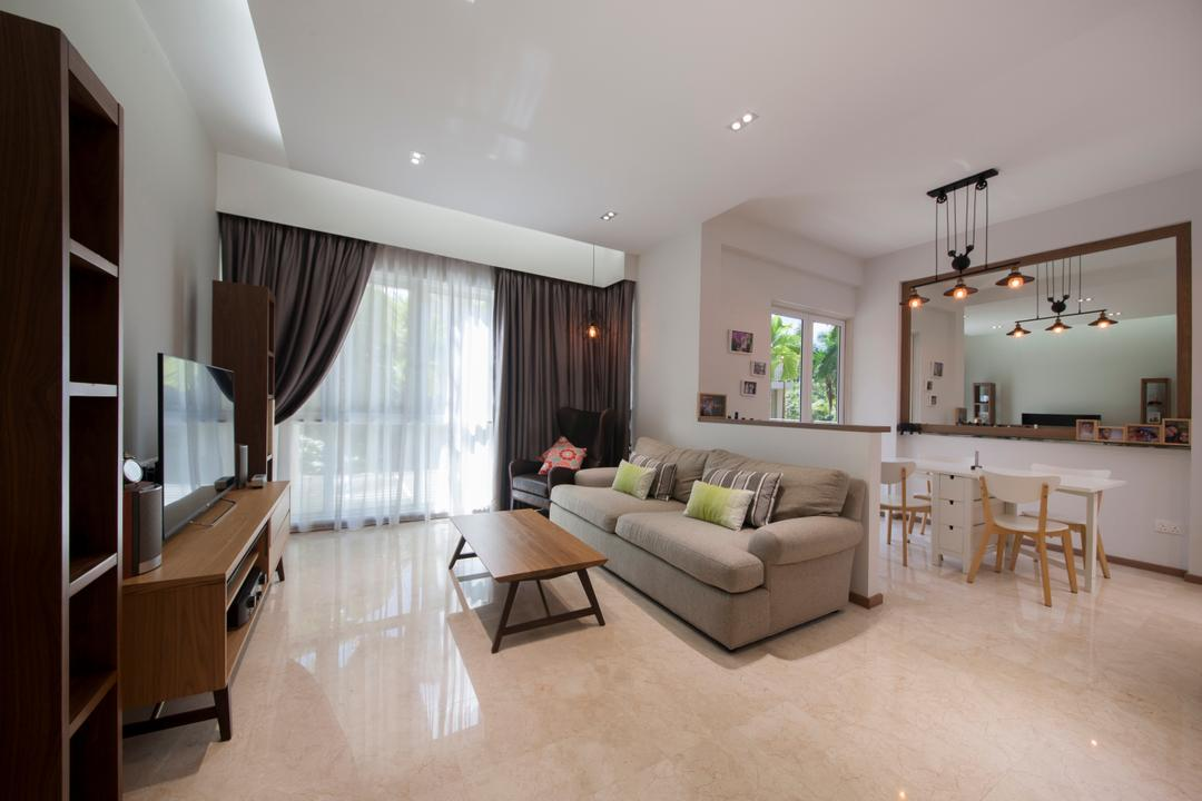 Country Park, Space Define Interior, Modern, Contemporary, Living Room, Condo, Leather Sofa, Curtains, Marble Flooring, Marble Tiles, Hanging Light, Old Condo, Neutral Colours, Flooring, Indoors, Room, HDB, Building, Housing