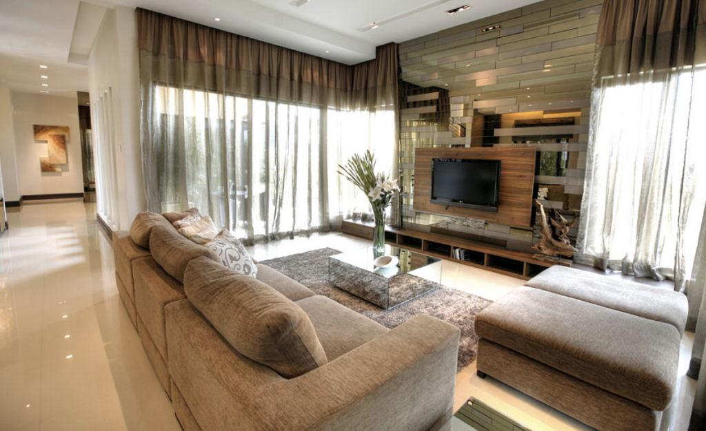Contemporary, Landed, Living Room, Kiara View Phase 4 Show House, Interior Designer, Hoe & Yin Design Studio, Curtain, Home Decor, Couch, Furniture, Electronics, Entertainment Center, Indoors, Interior Design