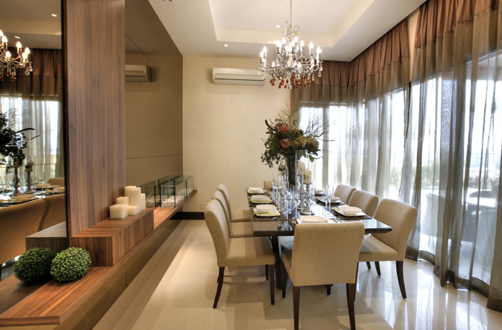 Contemporary, Landed, Dining Room, Kiara View Phase 4 Show House, Interior Designer, Hoe & Yin Design Studio, Indoors, Interior Design, Room, Dining Table, Furniture, Table, Chair, Couch, Flora, Jar, Plant, Potted Plant, Pottery, Vase, Conference Room, Meeting Room, Hardwood, Wood