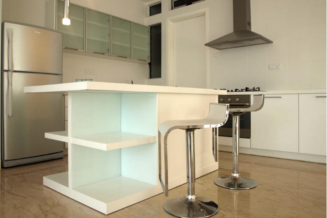 Idaman Residence, Hoe & Yin Design Studio, Modern, Kitchen, Landed, Shelf, Dining Table, Furniture, Table, Desk