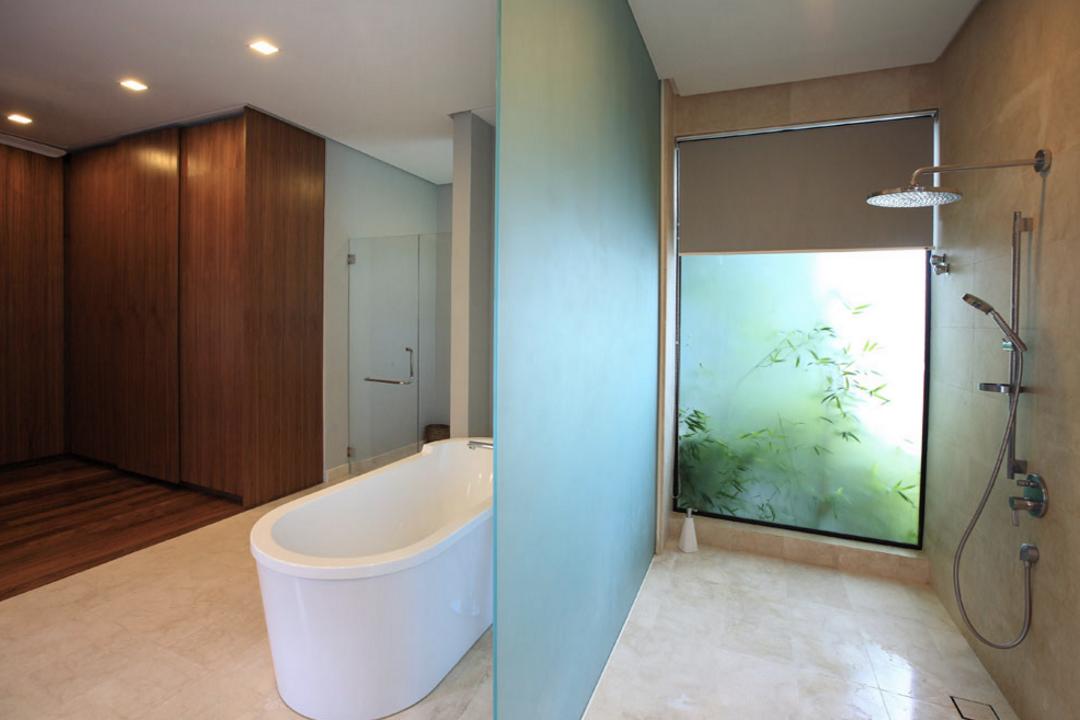 Mutiara Damansara Bungalow, Hoe & Yin Design Studio, Contemporary, Bathroom, Landed, Indoors, Interior Design, Bathtub, Tub