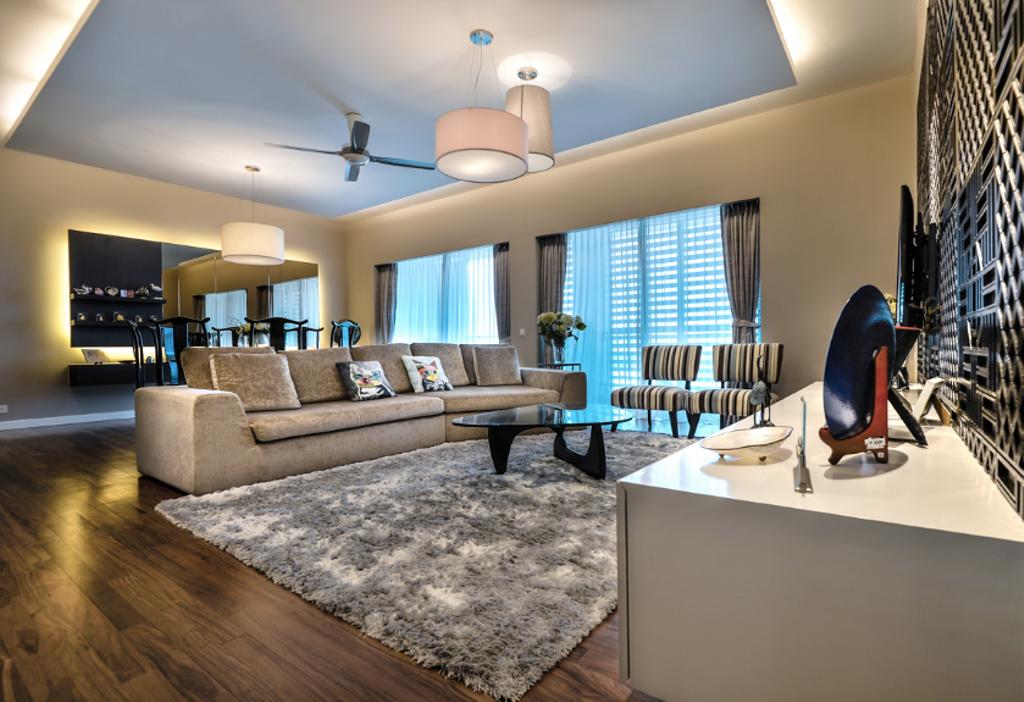 Modern, Landed, Living Room, Zehn, Bukit Pantai, Interior Designer, Hoe & Yin Design Studio, Couch, Furniture, Indoors, Interior Design, Dining Table, Table, Dining Room, Room