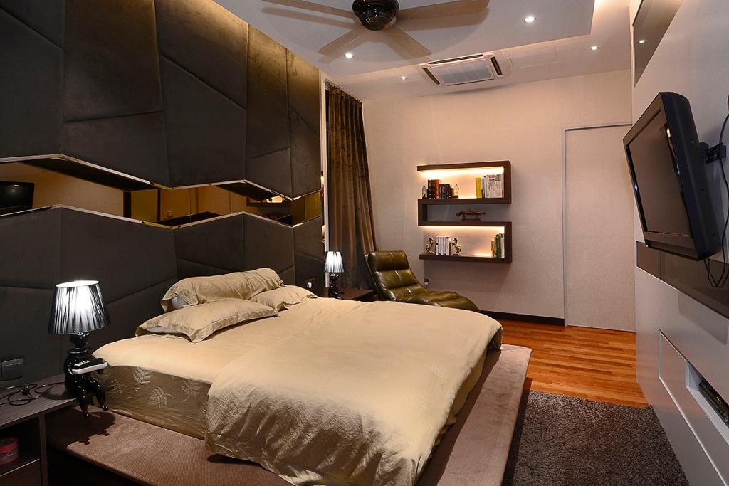Modern, Landed, Bedroom, Semi-D@ Kinrara Residence Ambrosia, Interior Designer, Torch Empire, Contemporary, Bed, Furniture, Lamp, Table Lamp