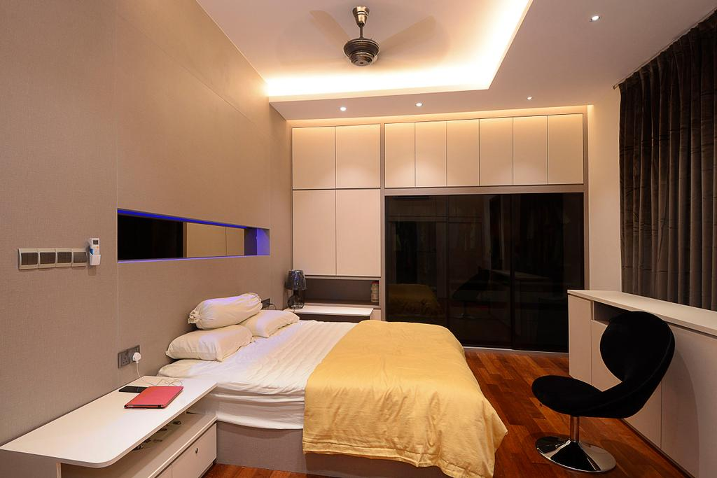 Modern, Landed, Bedroom, Semi-D@ Kinrara Residence Ambrosia, Interior Designer, Torch Empire, Contemporary, Chair, Furniture, Bed, Indoors, Room, Interior Design, Apartment, Building, Housing
