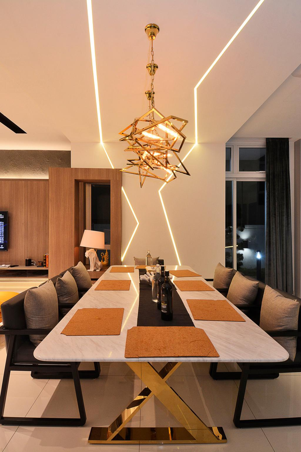 Modern, Landed, Dining Room, Semi-D@ Kinrara Residence Ambrosia, Interior Designer, Torch Empire, Contemporary, Indoors, Interior Design, Room, Conference Room, Meeting Room