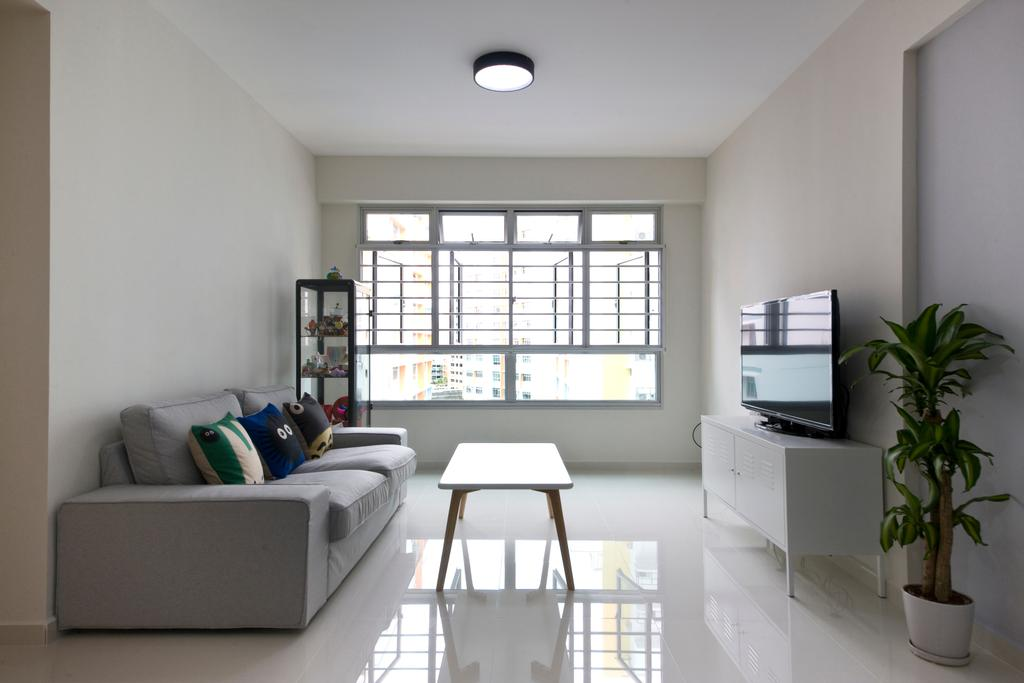 Minimalistic, HDB, Living Room, Pasir Ris, Interior Designer, DreamCreations Interior, Grey Sofa, Gray Sofa, White Walls, White Interior, Console, Blinds, Coffee Table, Flora, Jar, Plant, Potted Plant, Pottery, Vase, Couch, Furniture, Indoors, Interior Design