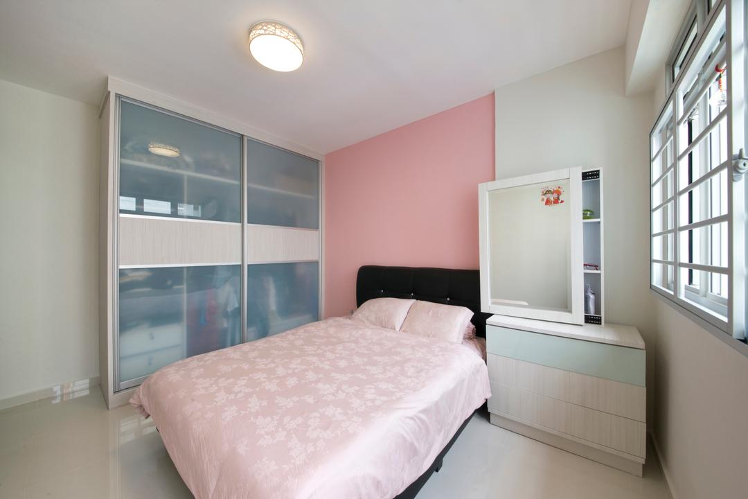 Pasir Ris, DreamCreations Interior, Minimalistic, Bedroom, HDB, Pink Wall, Closet, Wardrobe, Blinds, Bedside Drawer, White Laminate, Indoors, Interior Design, Room, Bed, Furniture