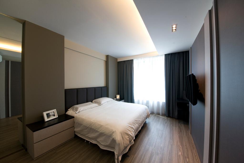 Modern, Condo, Bedroom, Butterworth, Interior Designer, Space Factor, Double Layer Curtain, Indoors, Interior Design, Room, Corridor, Bed, Furniture