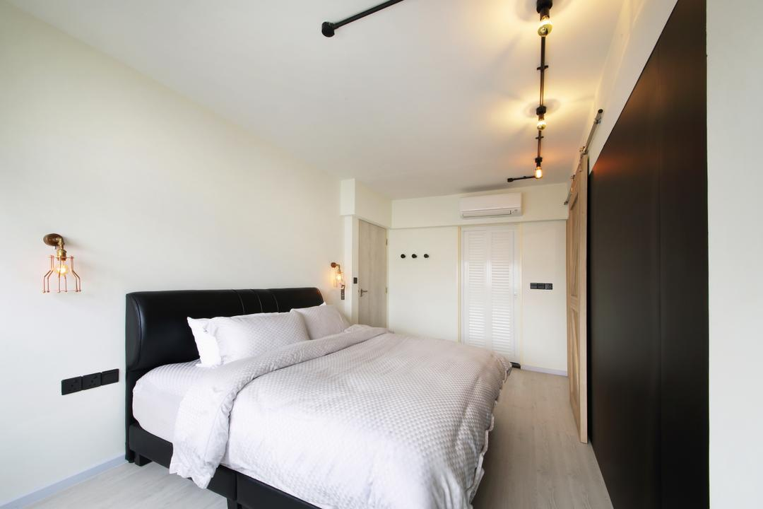 Yishun Street 31, Ascenders Design Studio, Industrial, Scandinavian, Bedroom, HDB, Black Bedding Panel, King Size Bed, Cozy, Cosy, Track Lights, Wooden Floor, , White Wall, White Wardrobe, Corridor, Indoors, Interior Design, Room