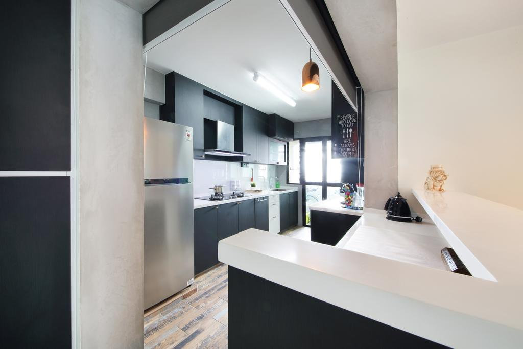 Industrial, HDB, Kitchen, Yishun Street 31, Interior Designer, Ascenders Design Studio, Scandinavian, Indoors, Interior Design, Room