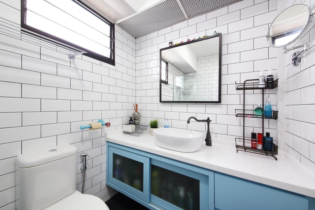 Yishun Street 31, Ascenders Design Studio, Industrial, Scandinavian, Bathroom, HDB, White Brick Wall, Modern Contemporary Bathroom, White Laminated Top, Sink Countertop, Protruding Sink, Blue Bathroom Cabinet, Appliance, Electrical Device, Microwave, Oven, Indoors, Interior Design, Room