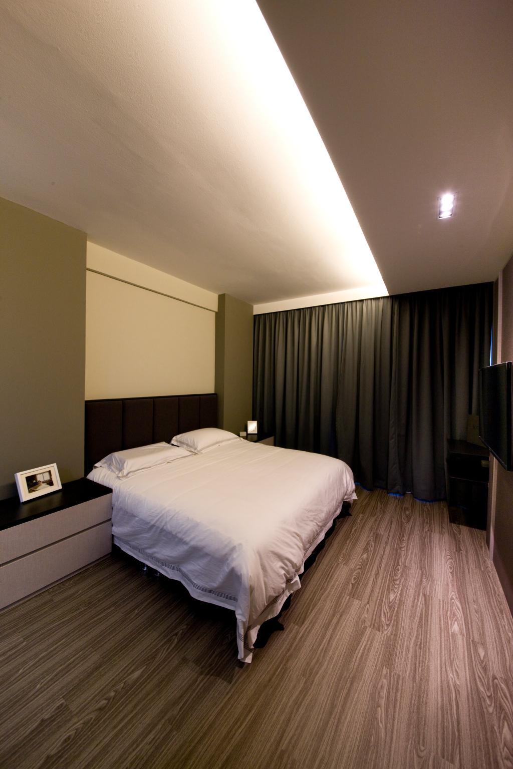 Modern, Condo, Bedroom, Butterworth, Interior Designer, Space Factor, Wooden Flooring, Concealed Lighting, Bed, Furniture, Indoors, Room