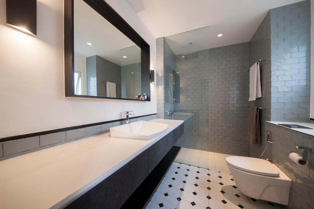 28 Parbury Avenue, Prozfile Design, Eclectic, Bathroom, Condo, Colonial Tiles, Black And White, Monochrome, Long Basin, Vanity Counter, Subway Tiles, Wall Mirror, Wall Sconce, Indoors, Interior Design, Room