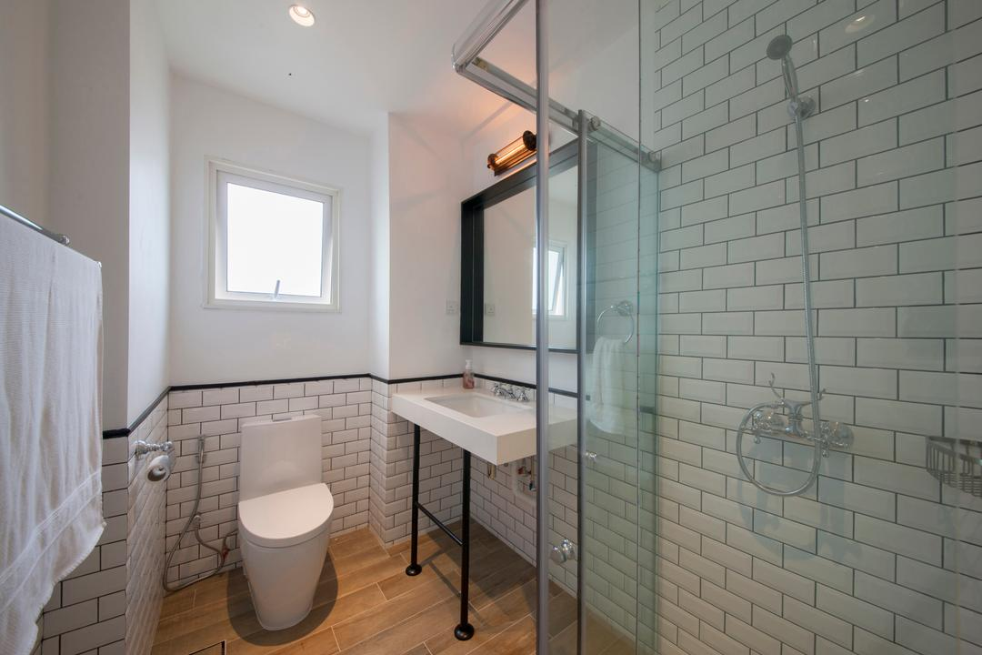28 Parbury Avenue, Prozfile Design, Eclectic, Bathroom, Condo, Subway Tiles, White Subway Tiles, Colonial Inspired, Monochrome, Glass Shower Cubicle, Standing Basin, Desk, Furniture, Table, Indoors, Interior Design, Room, Toilet