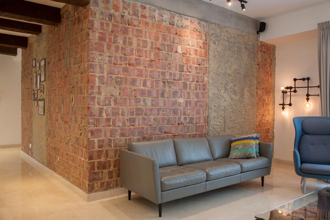 28 Parbury Avenue, Prozfile Design, Eclectic, Living Room, Condo, Original Bricks, Red Brick, Raw Appeal, Rough Texture, Wall Texture, Red Brick Wall, Brick Wall, Leather Sofa, Couch, Furniture, Indoors, Interior Design