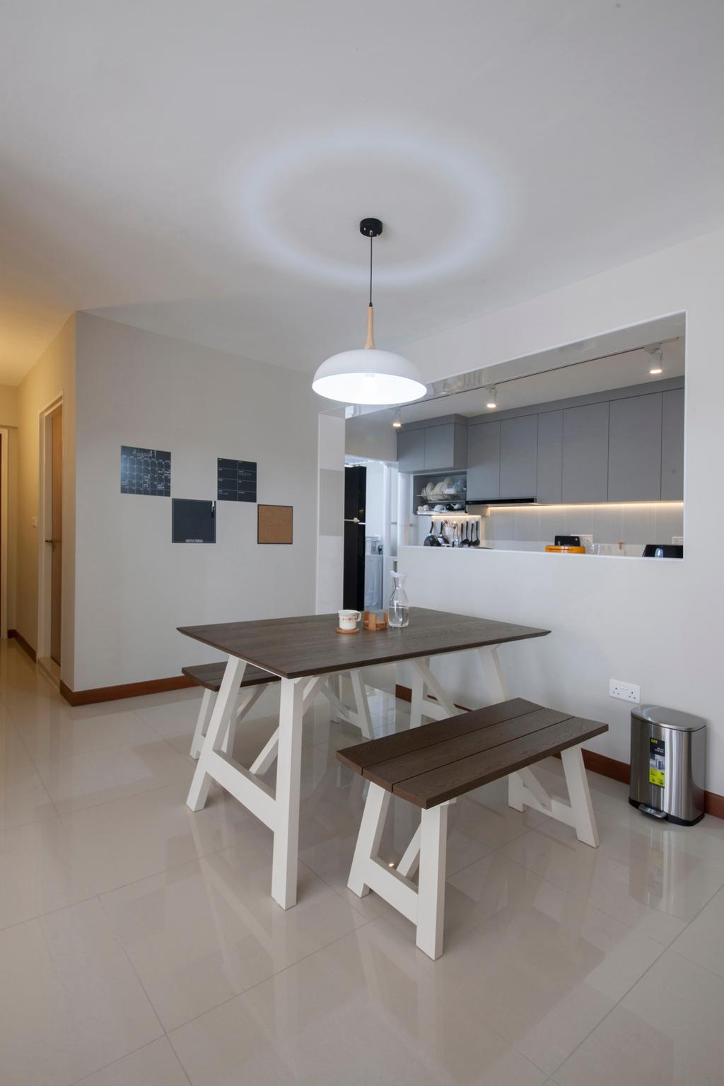Minimalistic, HDB, Dining Room, Compassvale Drive, Interior Designer, Superhome Design, Wooden Dining Table, Wooden Dining Bench, Hanging Lights, Modern Contemporary Dining Room, Indoors, Interior Design, Room, Dining Table, Furniture, Table