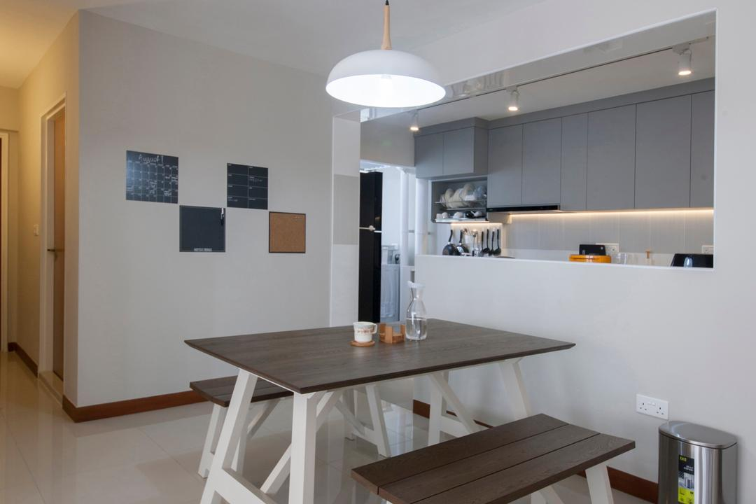 Compassvale Drive, Superhome Design, Minimalist, Dining Room, HDB, Wooden Dining Table, Wooden Dining Bench, Hanging Lights, Modern Contemporary Dining Room, Indoors, Interior Design, Room, Dining Table, Furniture, Table