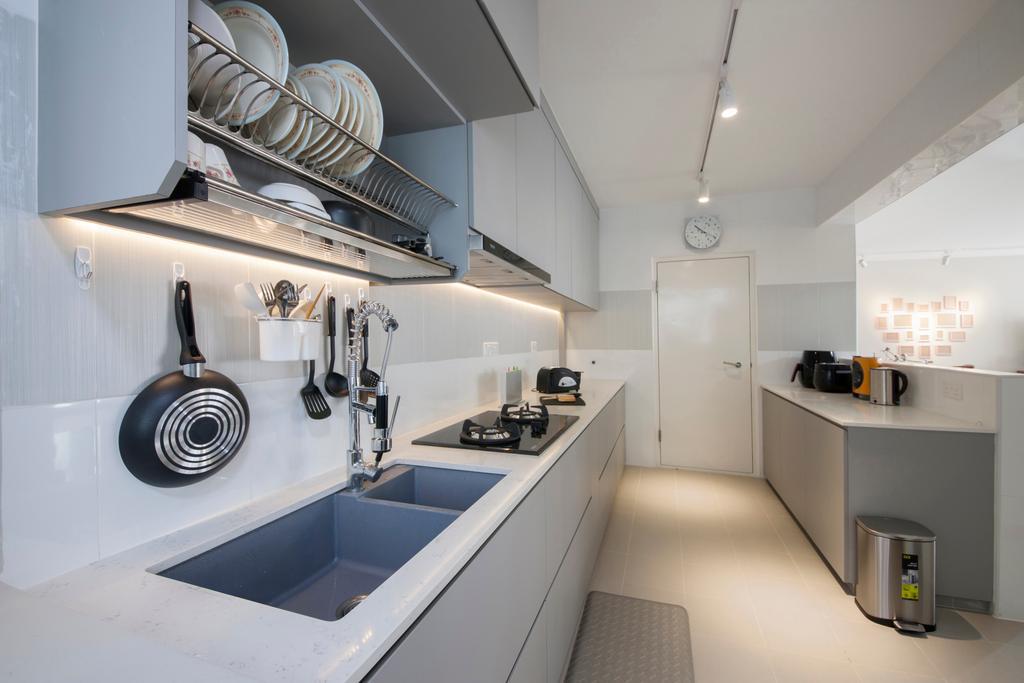 Minimalistic, HDB, Kitchen, Compassvale Drive, Interior Designer, Superhome Design, Ceramic Floor, Track Lights, White Kitchen Cabinet, White Kitchen Cupboard, White Laminated Top, Modern Contemporary Kitche, Frying Pan, Wok
