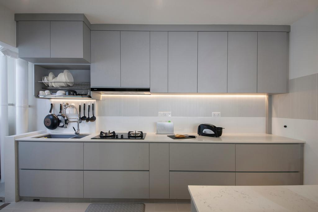 Minimalistic, HDB, Kitchen, Compassvale Drive, Interior Designer, Superhome Design, Indoors, Interior Design, Room, Closet, Furniture, Wardrobe