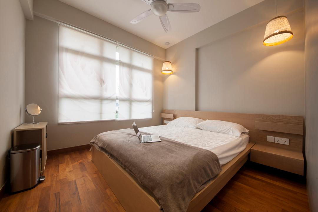 Compassvale Drive, Superhome Design, Minimalistic, Bedroom, HDB, Wooden Floor, King Size Bed, Bedding Platform, Wall Mounted Lights, Ceiling Fan, Roll Down Curtain, Cozy, Cosy, Modern Contemporary Bedroom, Indoors, Interior Design, Room, Light Fixture