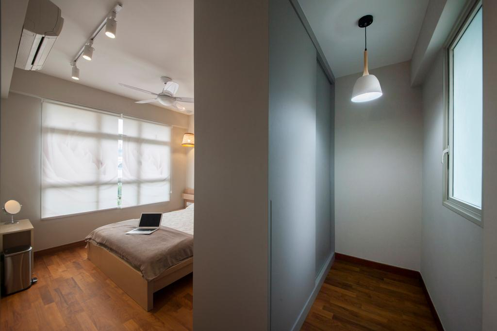 Minimalistic, HDB, Bedroom, Compassvale Drive, Interior Designer, Superhome Design, Flooring, Light Fixture