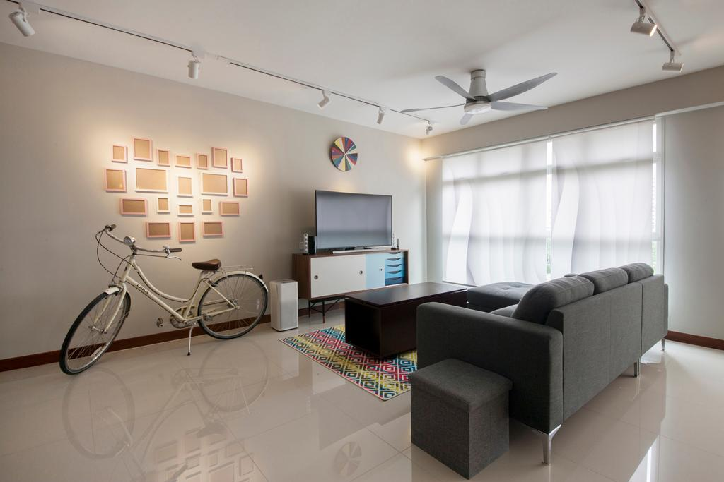 Minimalistic, HDB, Living Room, Compassvale Drive, Interior Designer, Superhome Design, Bicycle, Bike, Transportation, Vehicle, Tandem Bicycle, Couch, Furniture