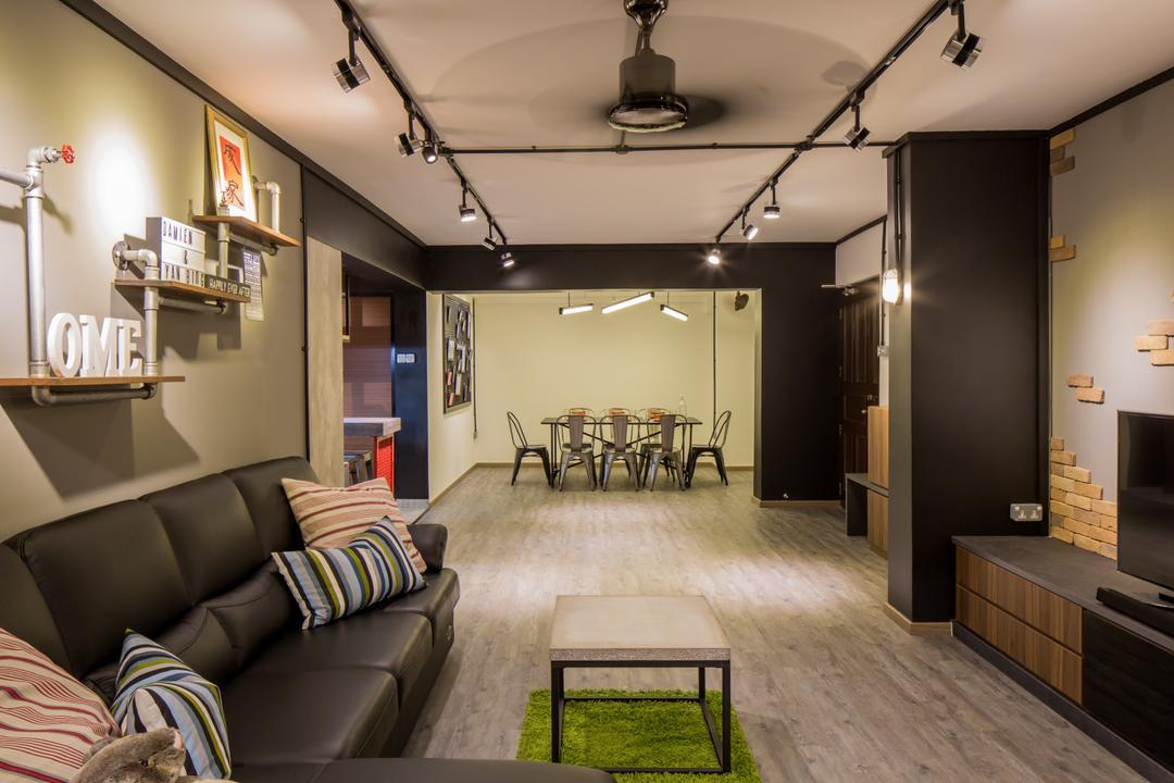 Jelapang Road, Edge Interior, Industrial, Living Room, HDB, Parquet Flooring, Track Light, Black Trackie, Black Track Lighitng, Display Shelf, Wooden Floo, Leather Sofa