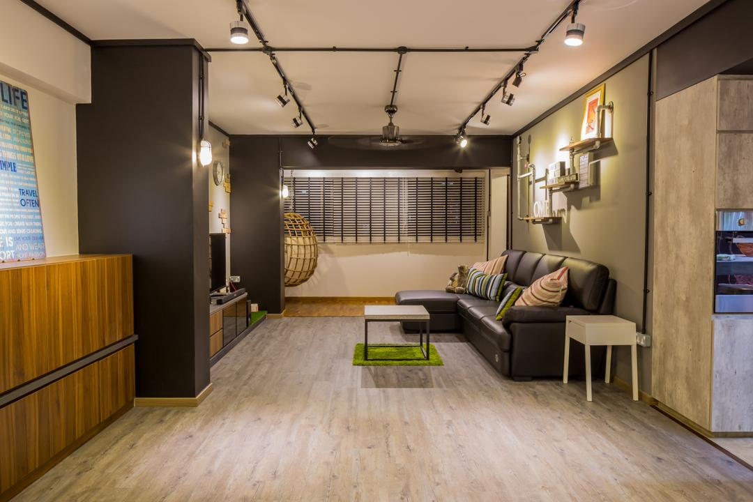 Jelapang Road, Edge Interior, Industrial, Living Room, HDB, Parquet Flooring, Wooden Flooring, Track Light, Black Track Light, Trackie, Laminate