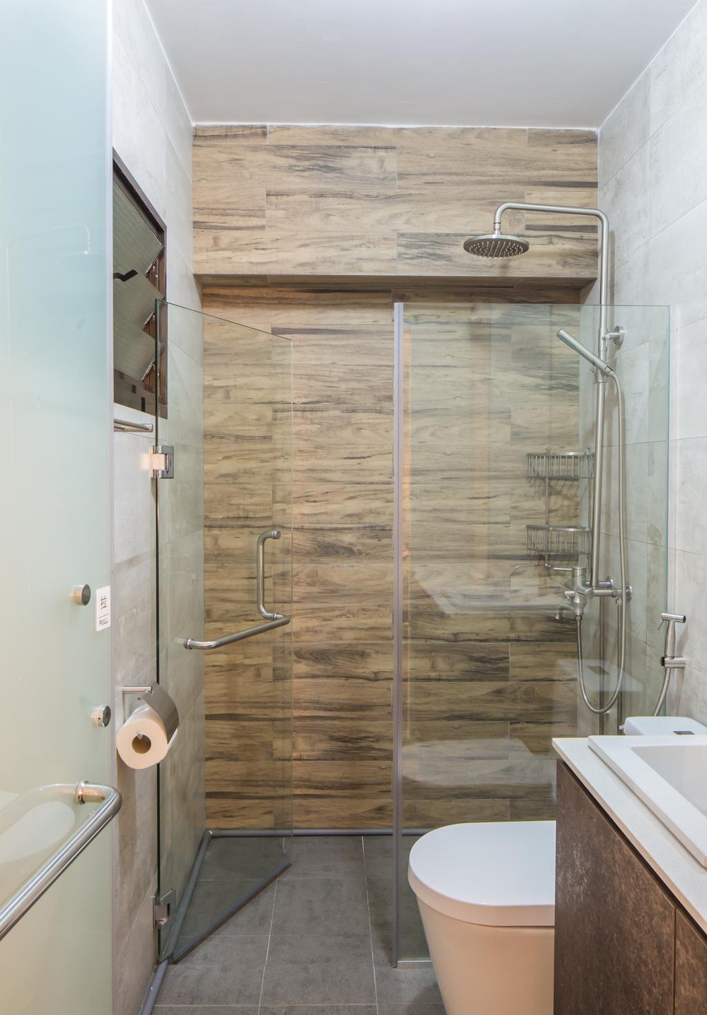 Industrial, HDB, Bathroom, Jelapang Road, Interior Designer, Edge Interior, Bathroom Tiles, Glass Door