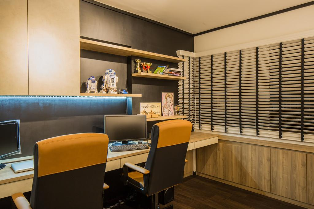 Industrial, HDB, Study, Jelapang Road, Interior Designer, Edge Interior, Venetian Blinds, Shelf, Book Shelf, Concealed Lighting