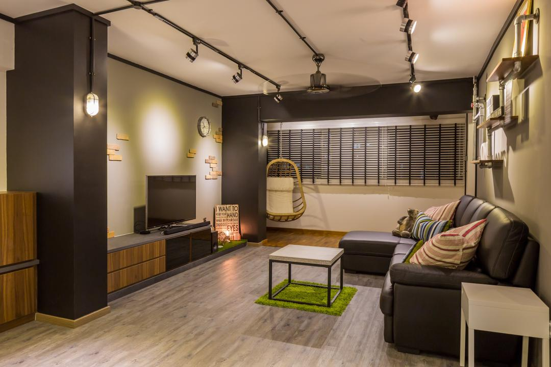 Jelapang Road, Edge Interior, Industrial, Living Room, HDB, Black Track Light, Trackie, Track Lighting, Wooden Laminate, Parquet Flooring, Wooden Floor, Coffee Table