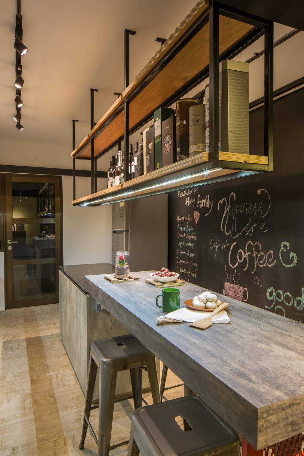 Industrial, HDB, Kitchen, Jelapang Road, Interior Designer, Edge Interior, Chalkboard, Hanging Shelf, Laminate, Trackie, Black Track Light