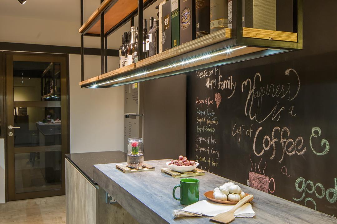 Jelapang Road, Edge Interior, Industrial, Kitchen, HDB, Chalkboard, Hanging Shelf, Laminate, Trackie, Black Track Light