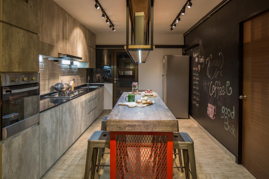 Jelapang Road, Edge Interior, Industrial, Kitchen, HDB, Wooden Flooring, Parquet Flooring, Track Light, Black Track Light