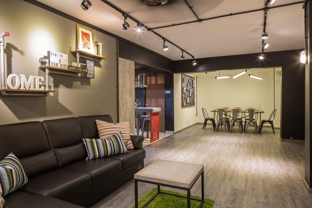 Industrial, HDB, Living Room, Jelapang Road, Interior Designer, Edge Interior, Leather Sofa, Parquet Flooring, Wooden Floor, Trackie, Black Track Light