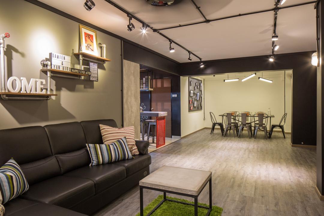 Jelapang Road, Edge Interior, Industrial, Living Room, HDB, Leather Sofa, Parquet Flooring, Wooden Floor, Trackie, Black Track Light