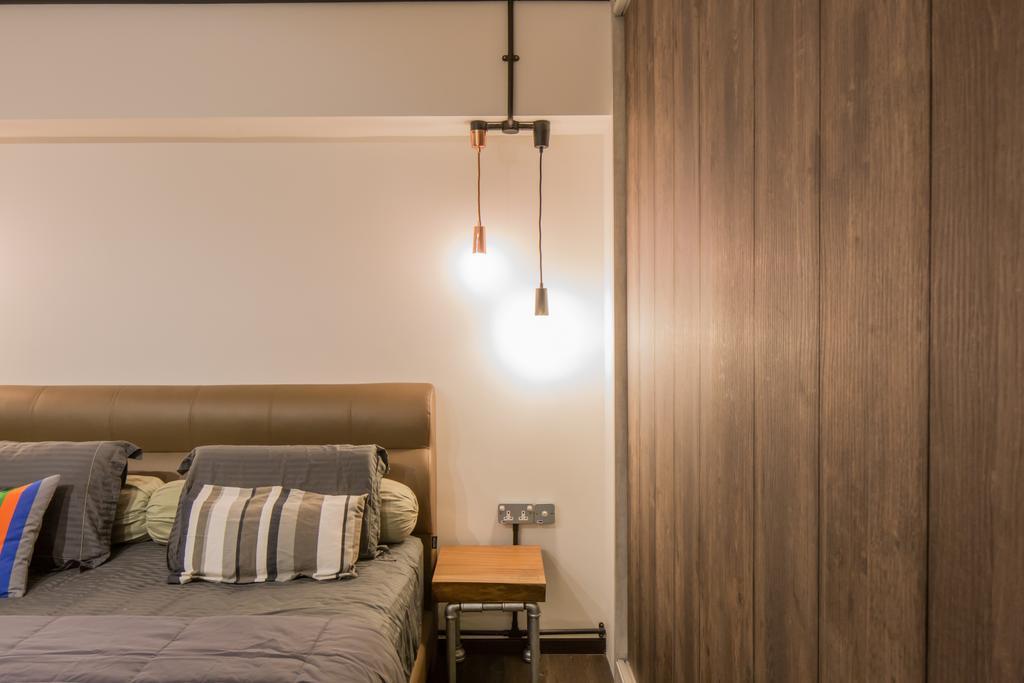 Industrial, HDB, Bedroom, Jelapang Road, Interior Designer, Edge Interior, Hanging Light, Wooden Light, Bedside Table
