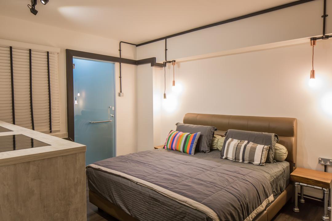 Jelapang Road, Edge Interior, Industrial, Bedroom, HDB, Venetian Blinds, Bedside Table, Hanging Lights, Drop Light