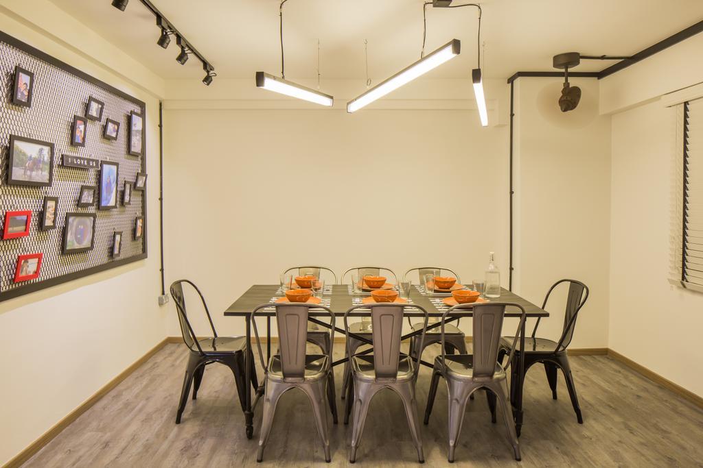 Industrial, HDB, Dining Room, Jelapang Road, Interior Designer, Edge Interior, Parquet Flooring, Track Light, Hanging Light, Wal Art, Wooden Flooring