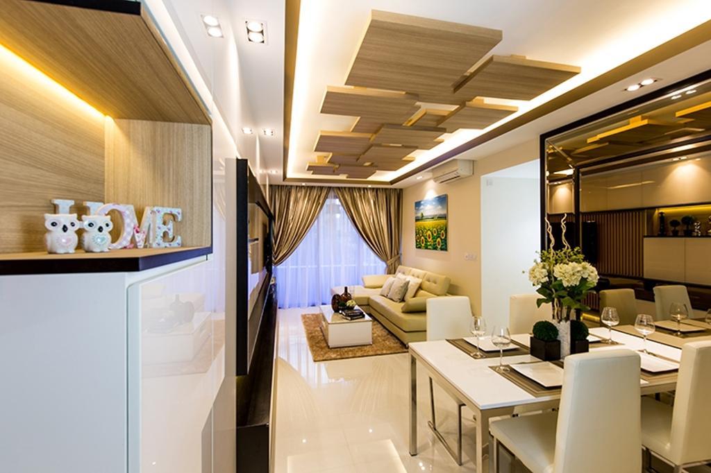 Modern, Condo, Dining Room, Prive, Interior Designer, Thom Signature Design, Concealed Lighting, Wood Ceiling