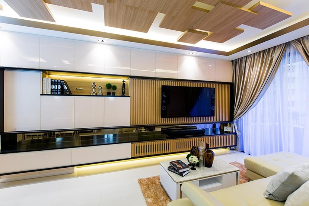 Modern, Condo, Living Room, Prive, Interior Designer, Thom Signature Design, Laminate, Wood Ceiling