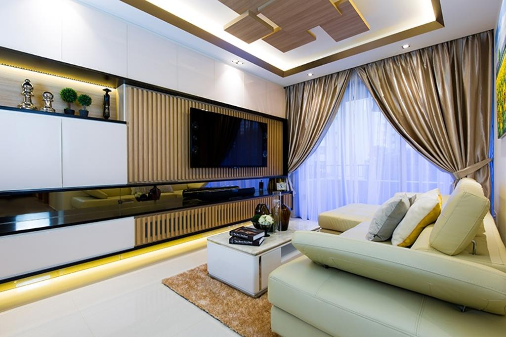 Modern, Condo, Living Room, Prive, Interior Designer, Thom Signature Design, Wood Ceiling, Laminate